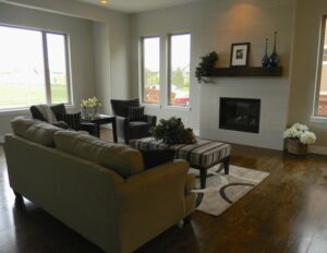 Spacious Living Room with fireplace and views!