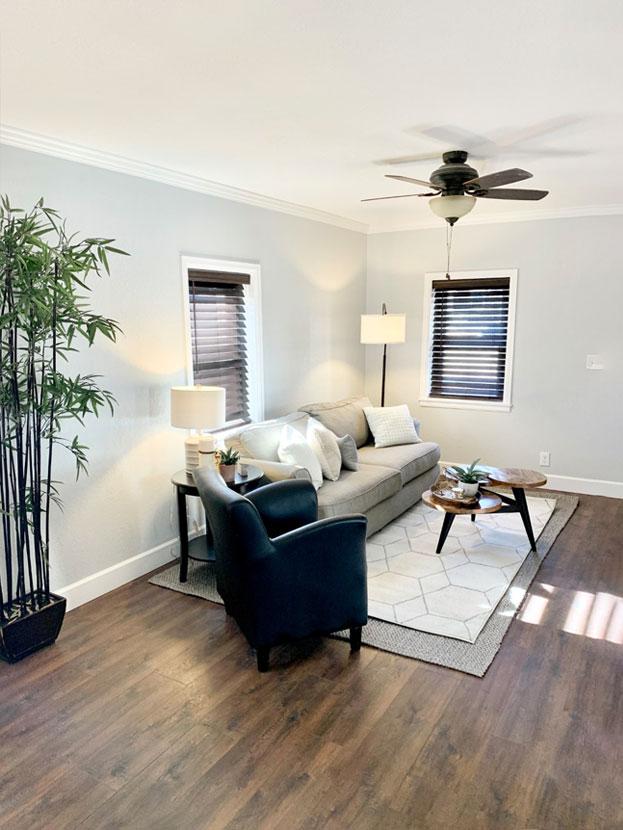 bright calming livingroom with hardwood floors