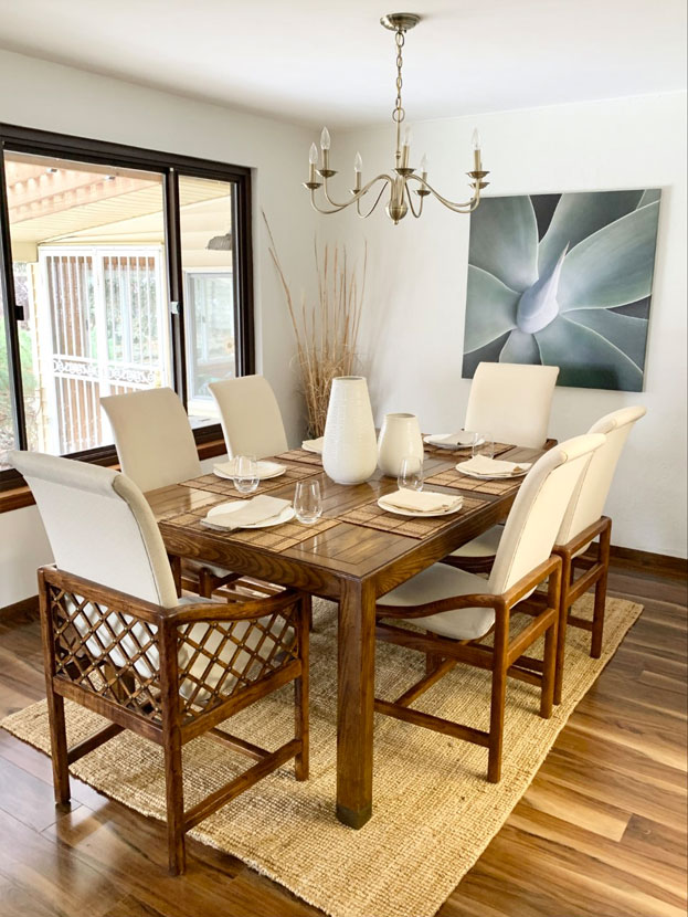 mondern dining room table with brown accents